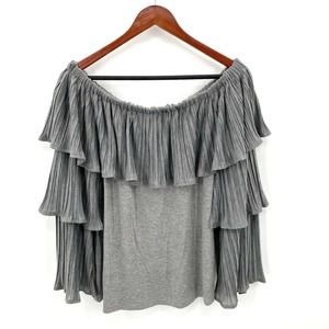 Neiman Marcus Tiered Ruffle Off The Shoulder Top L